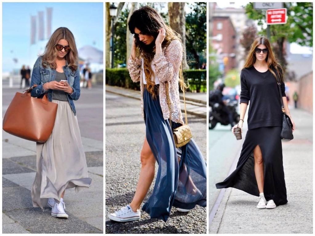 длинная юбка и кеды