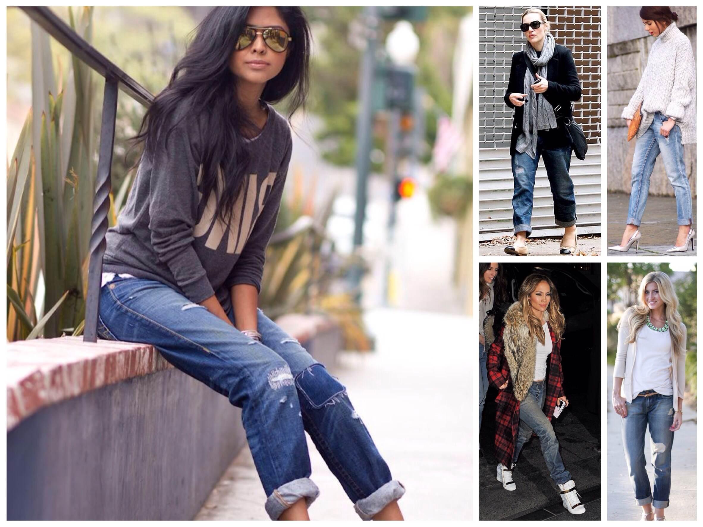 Фото красавицы в джинсах показывает свои стройные ножки