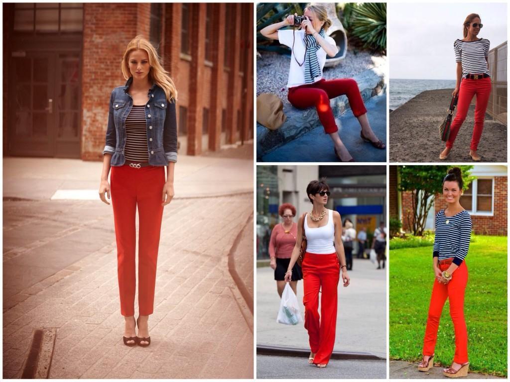 Ансамбли с красными брюками