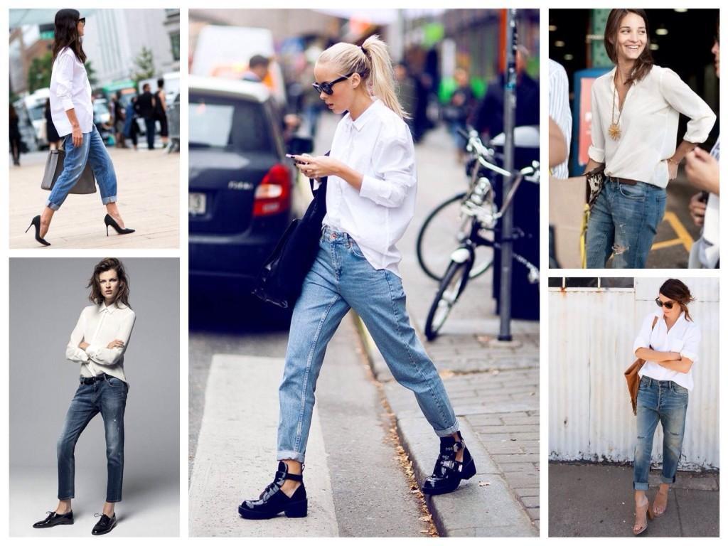 Белая рубашки с Boyfriends jeans