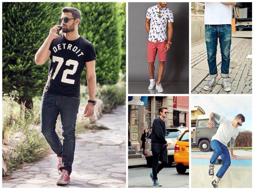 Цветные кеды с джинсами
