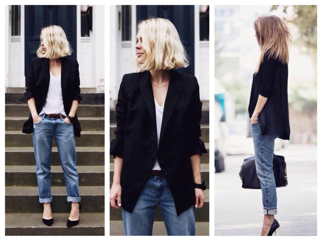 Классическое сочетание с черным пиджаком