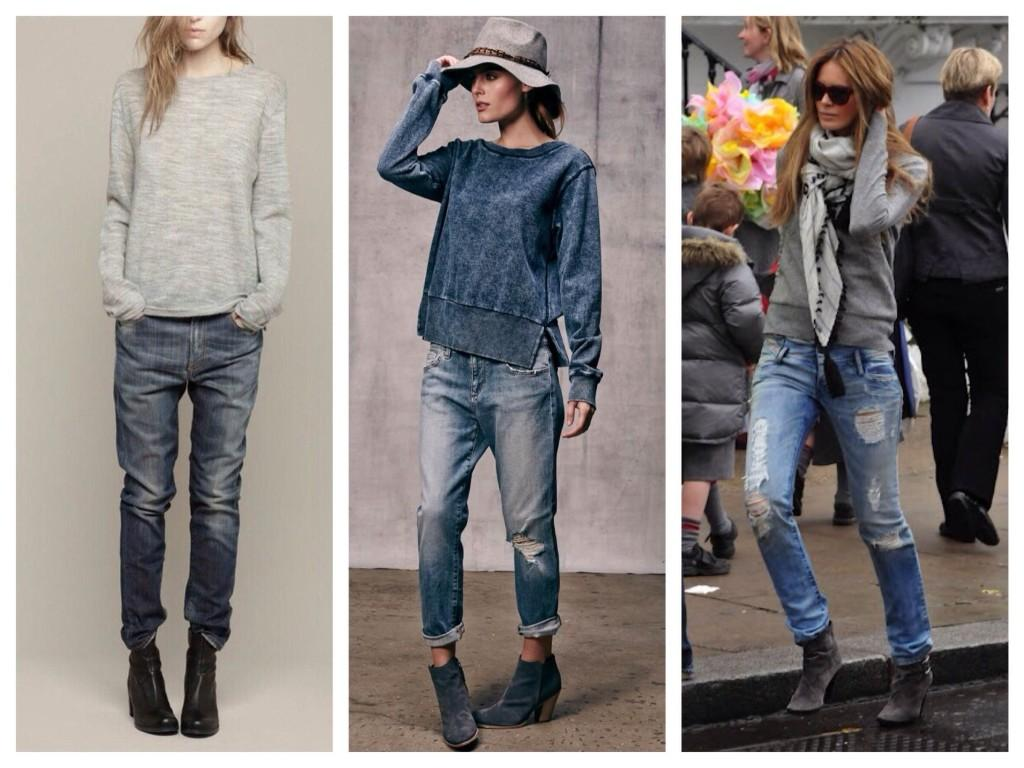 Образы Boyfriends jeans со свитшотами