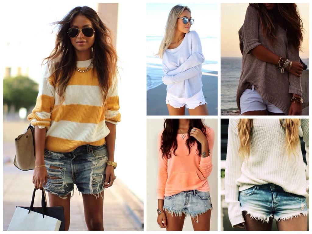 Образы со свитерами и свитшотами