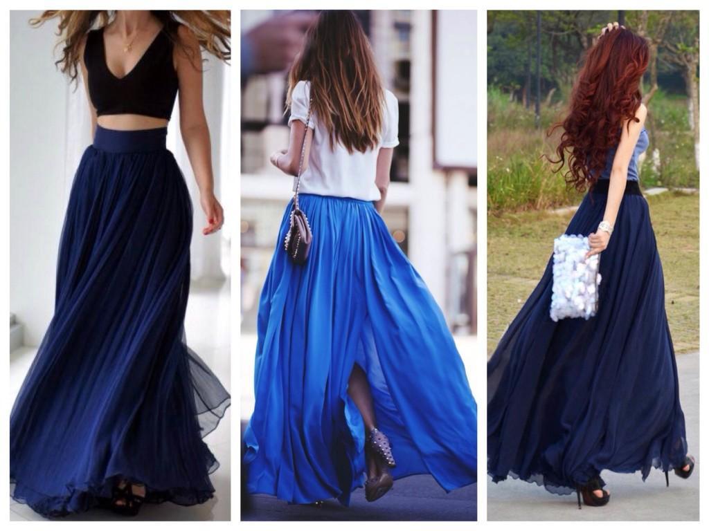 Оттенки синего в юбках макси