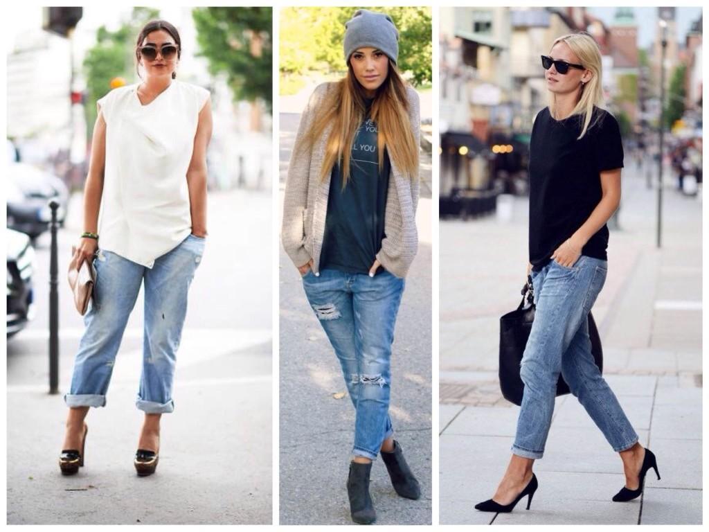 Разная подача образов с джинсами бойфрендами