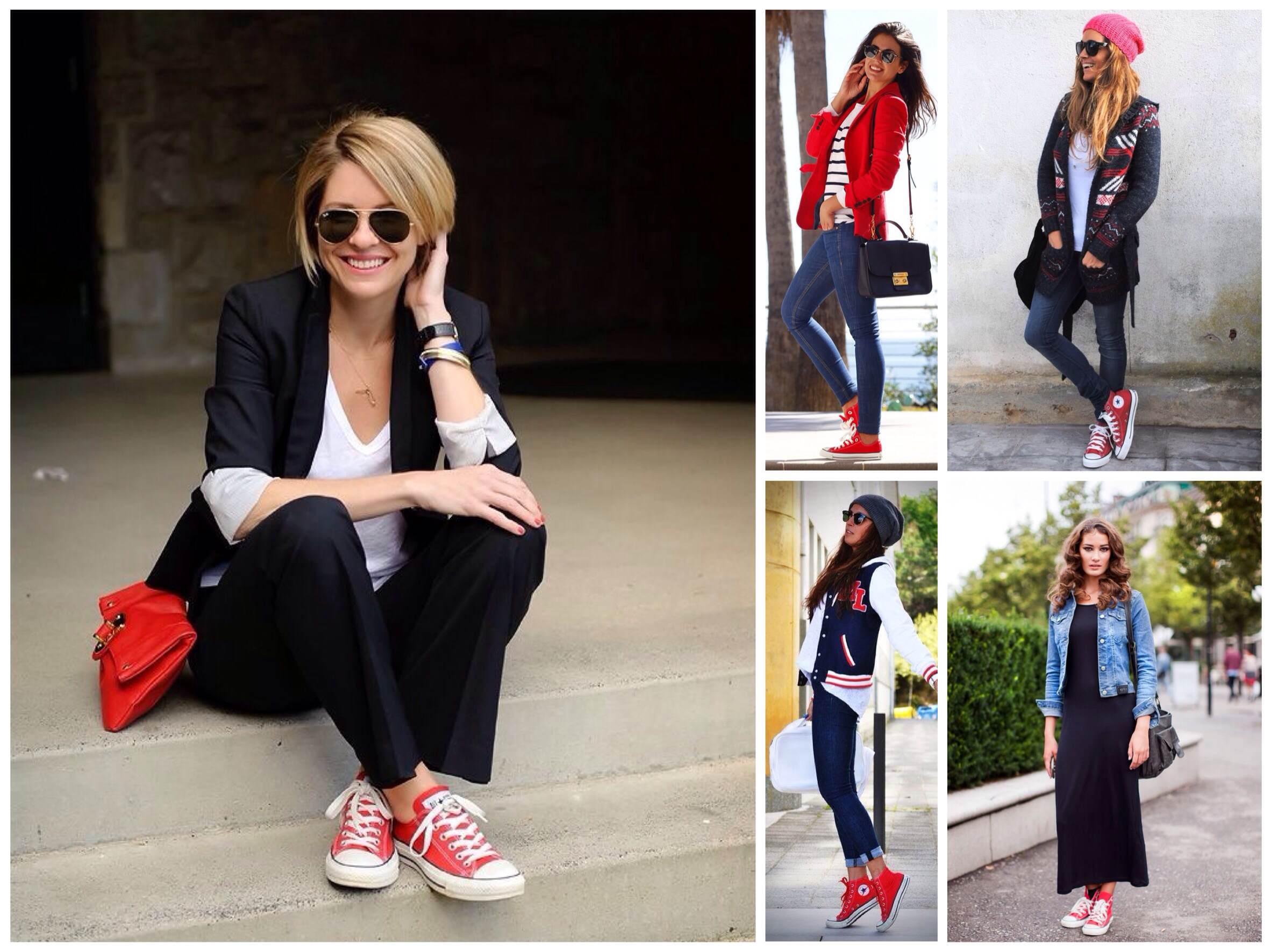 dcec67cd985d Сочетания различных комплектов одежды с красными кедами