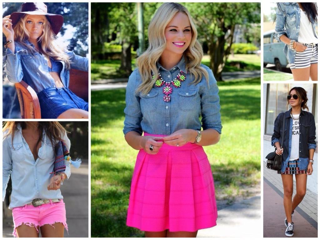Яркие образы с джинсовой рубашкой