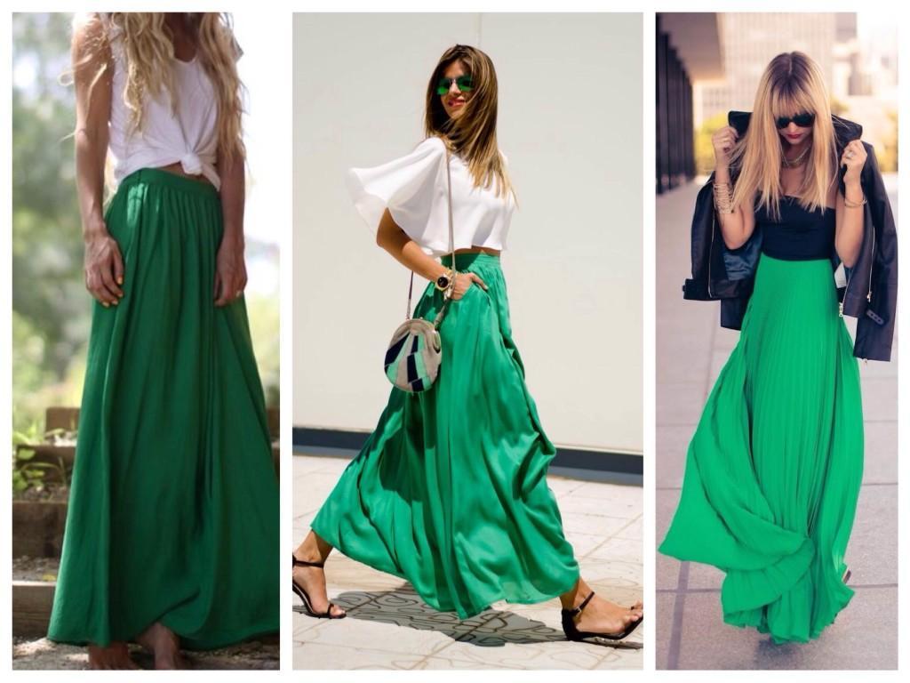 Яркие оттенки зеленого в макси