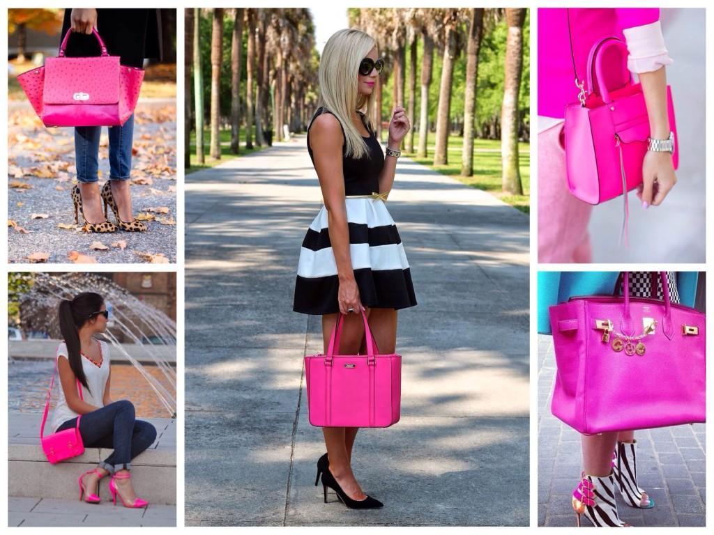 Яркие сумки цвета фуксии в модных образах