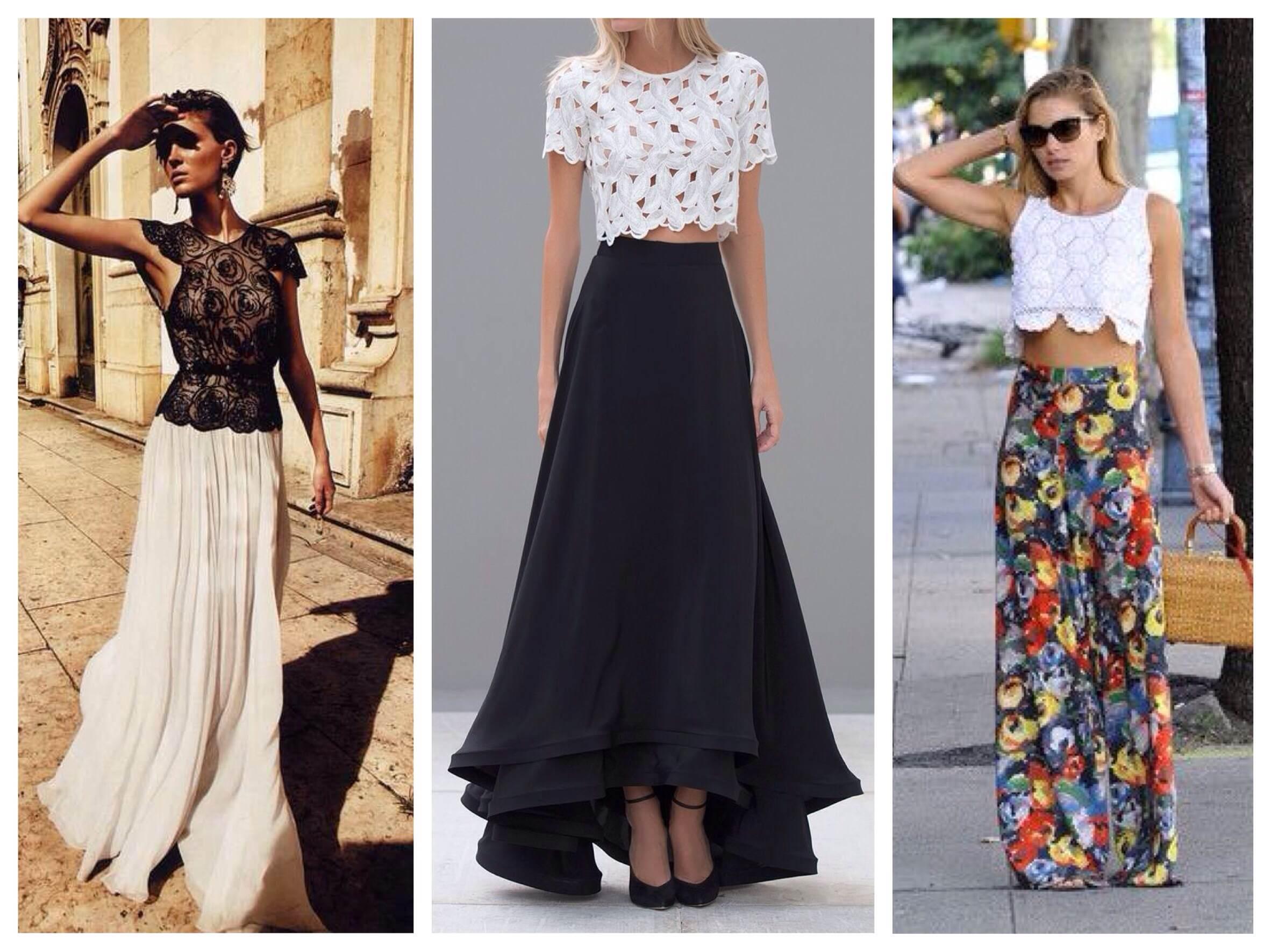 С чем носить кружевную юбку в пол