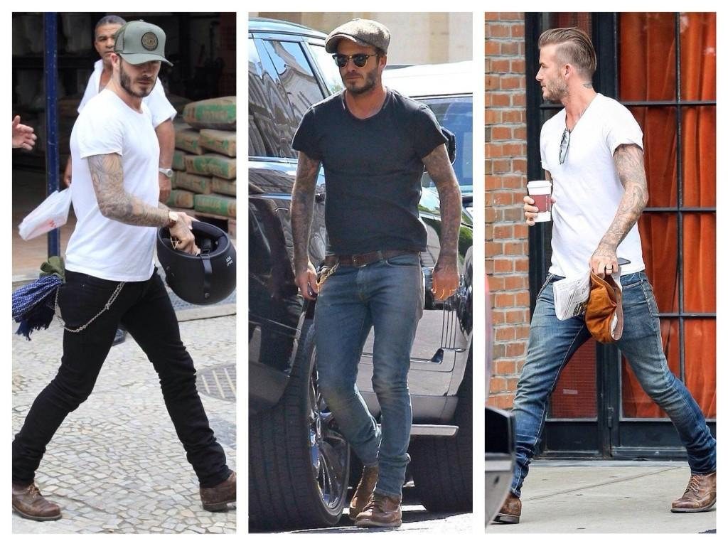 Мужские луки с майками и зауженными джинсами