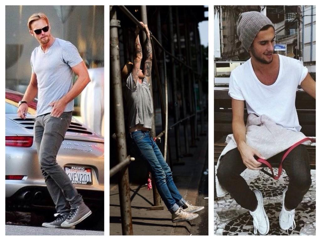 Мужские зауженные джинсы в комплекте с кедами