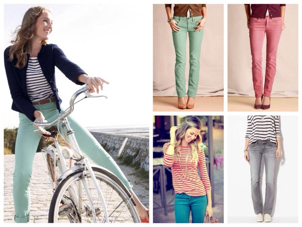 Цветные модели прямых джинс