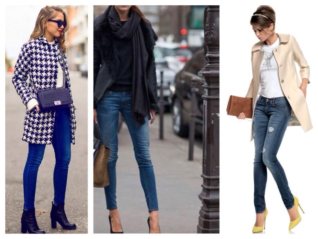Узкие джинсы в образах демисизона