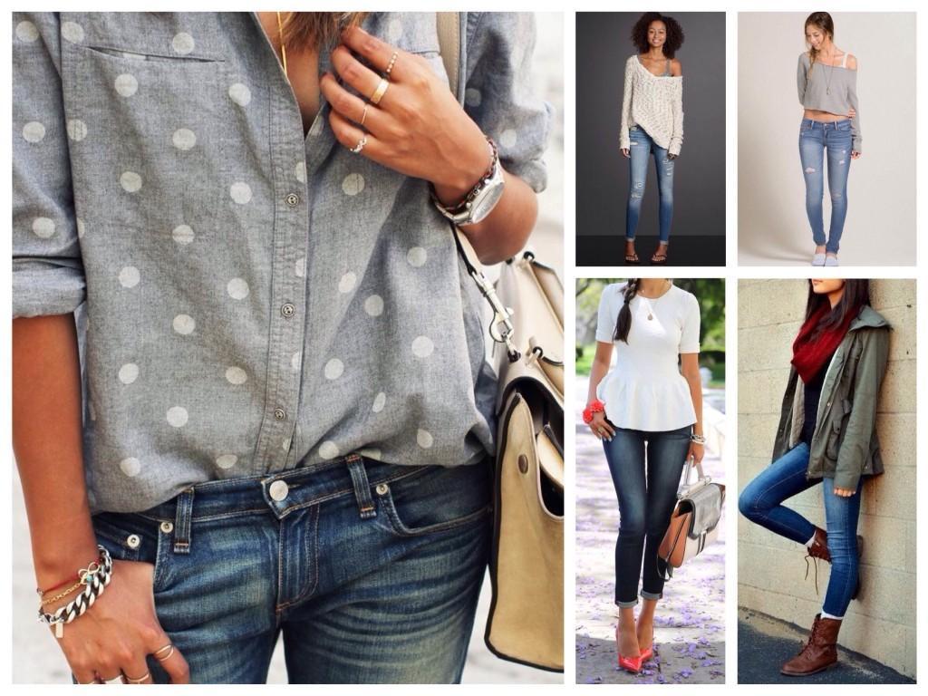 Узкие джинсы в различных комплектах