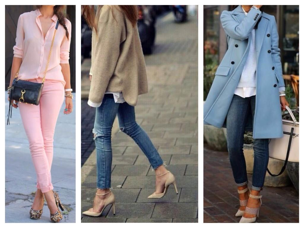 Зауженные джинсы и обувь на каблуке