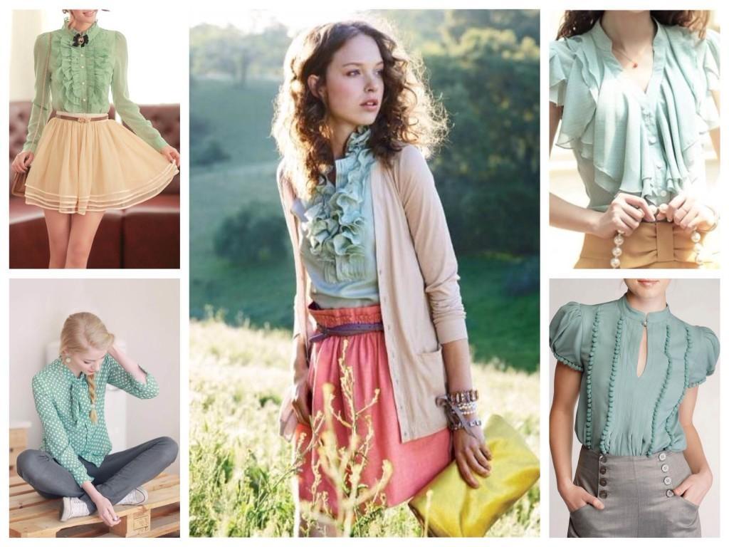 Блузки и рубашки мятного оттенка