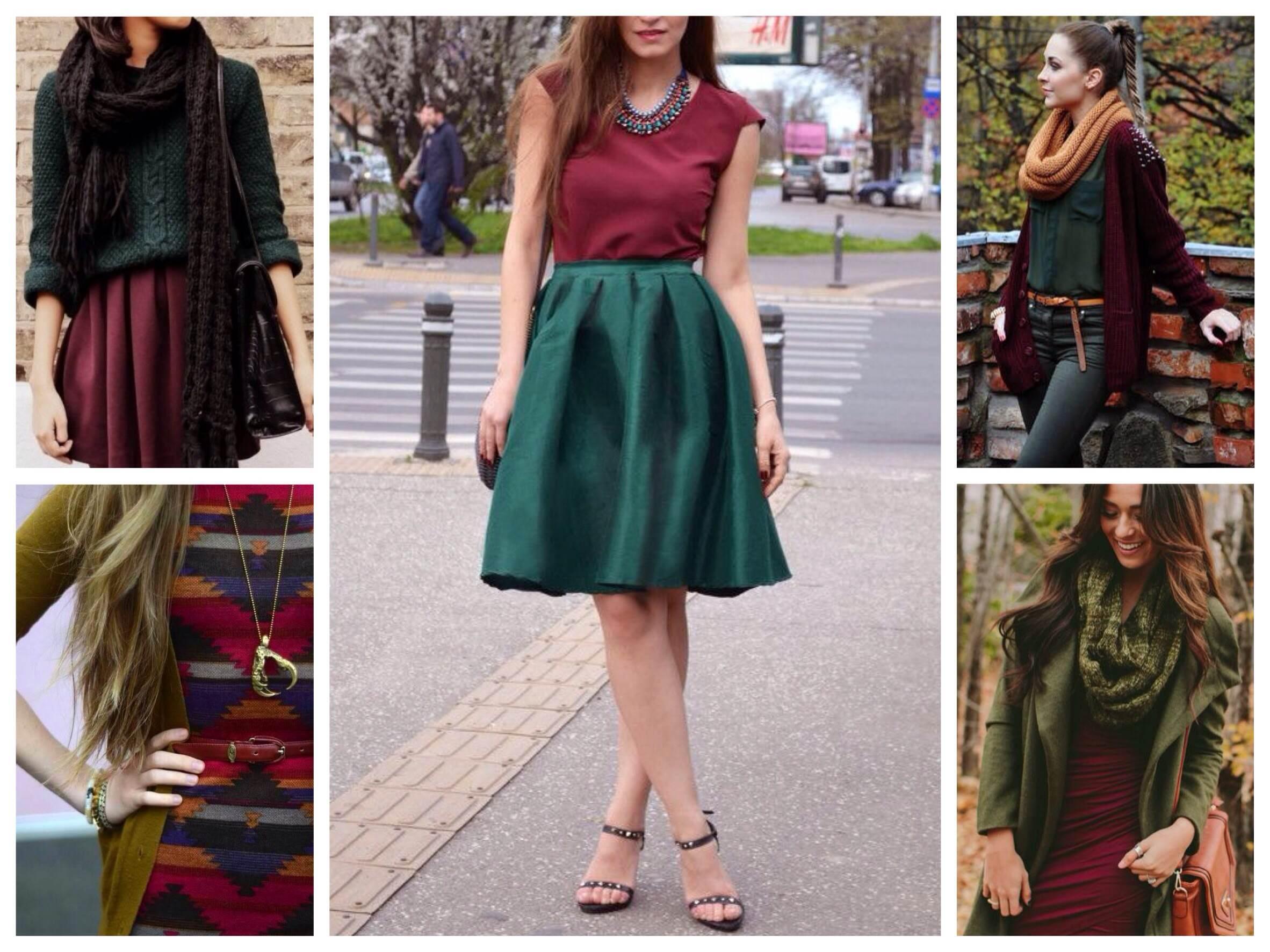 Юбка темно зеленого цвета с чем носить