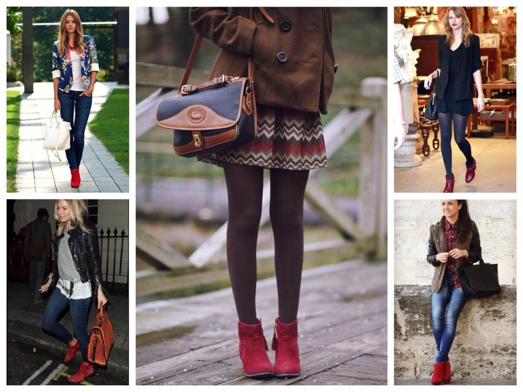 Обувь в оттенках красного цвета