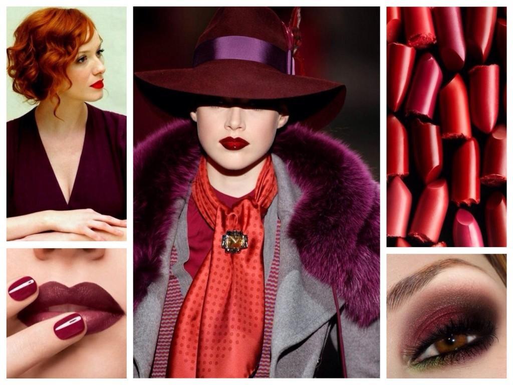 Оттенки Marsala с красным в одежде и макияже