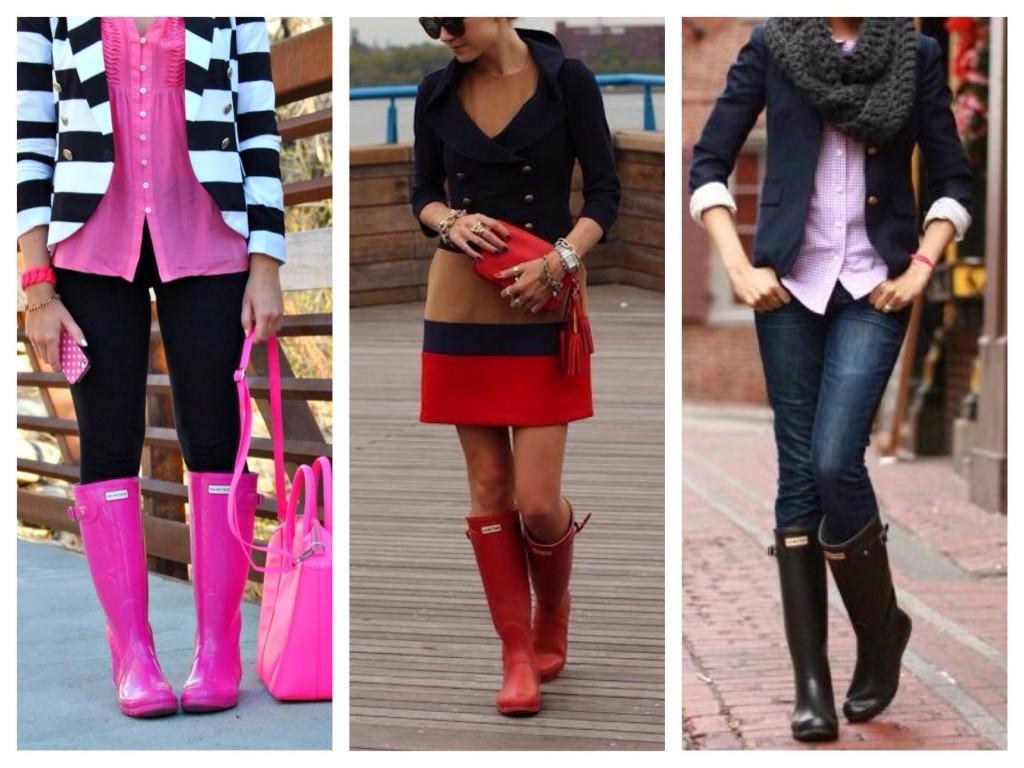 Резиновая обувь в образе с пиджаками