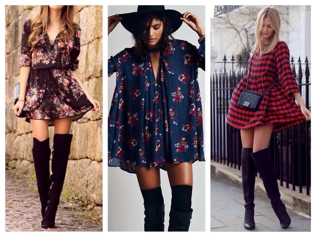 Романтичные платья в ансамбле с ботфортами