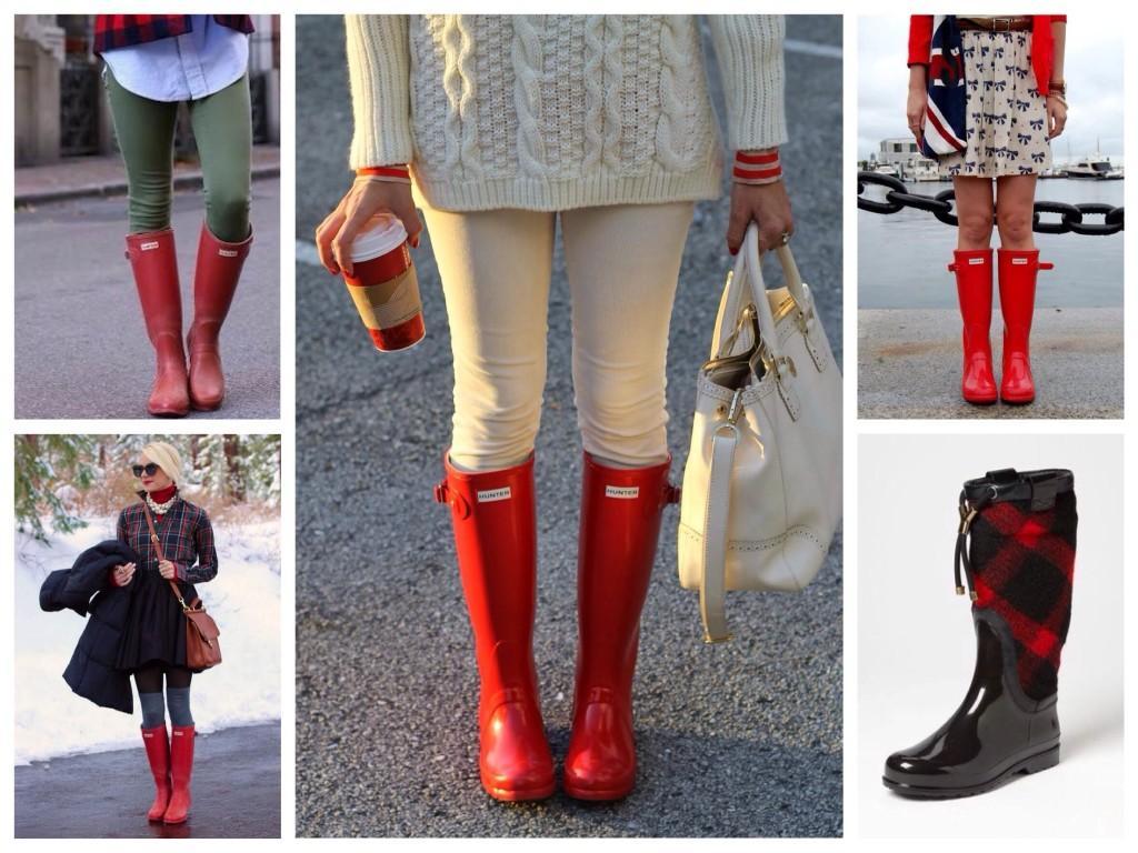 Сочетания красного в луках c резиновой обуви