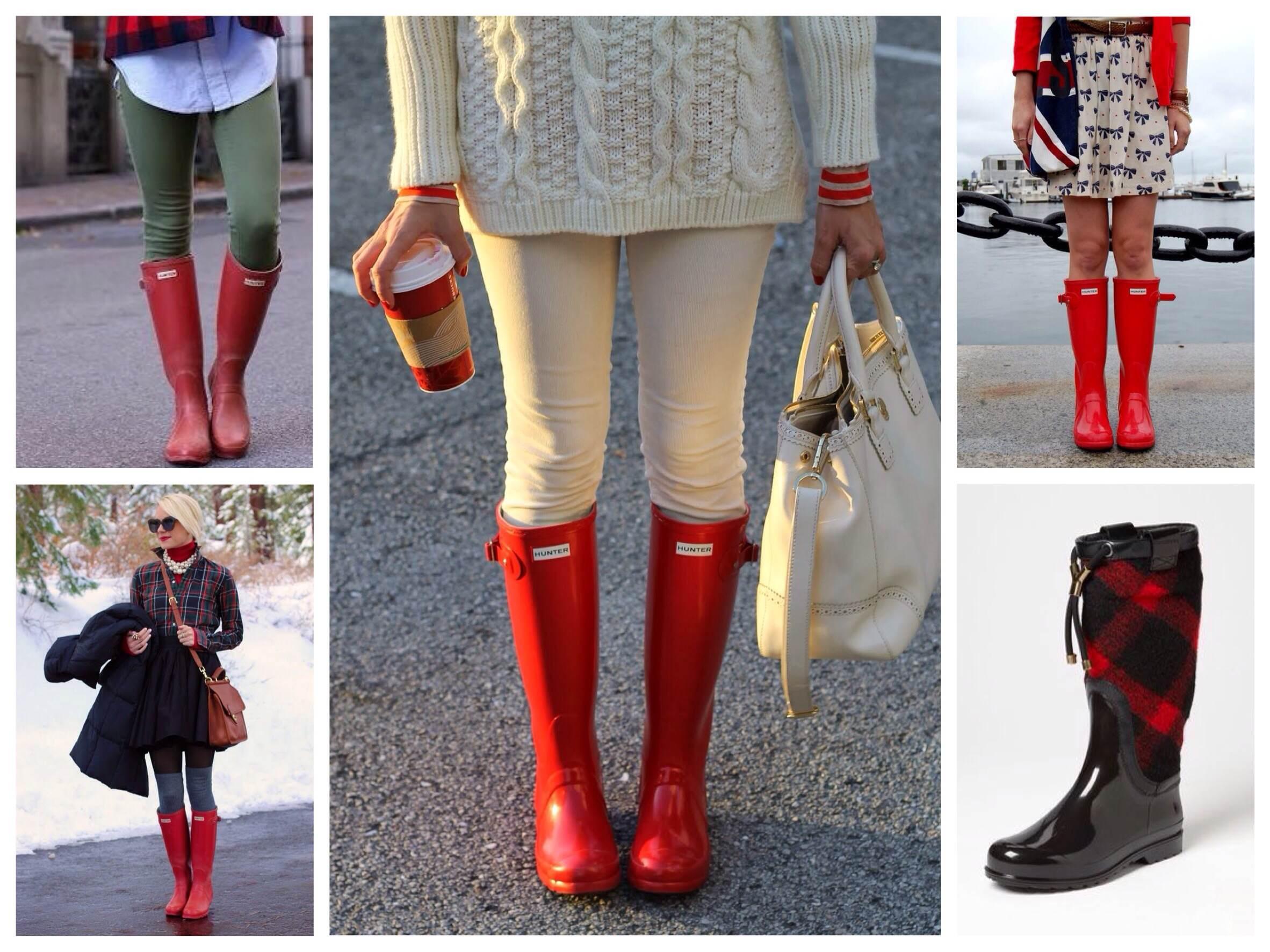 ce3892cb0 Сочетания красного в луках c резиновой обуви