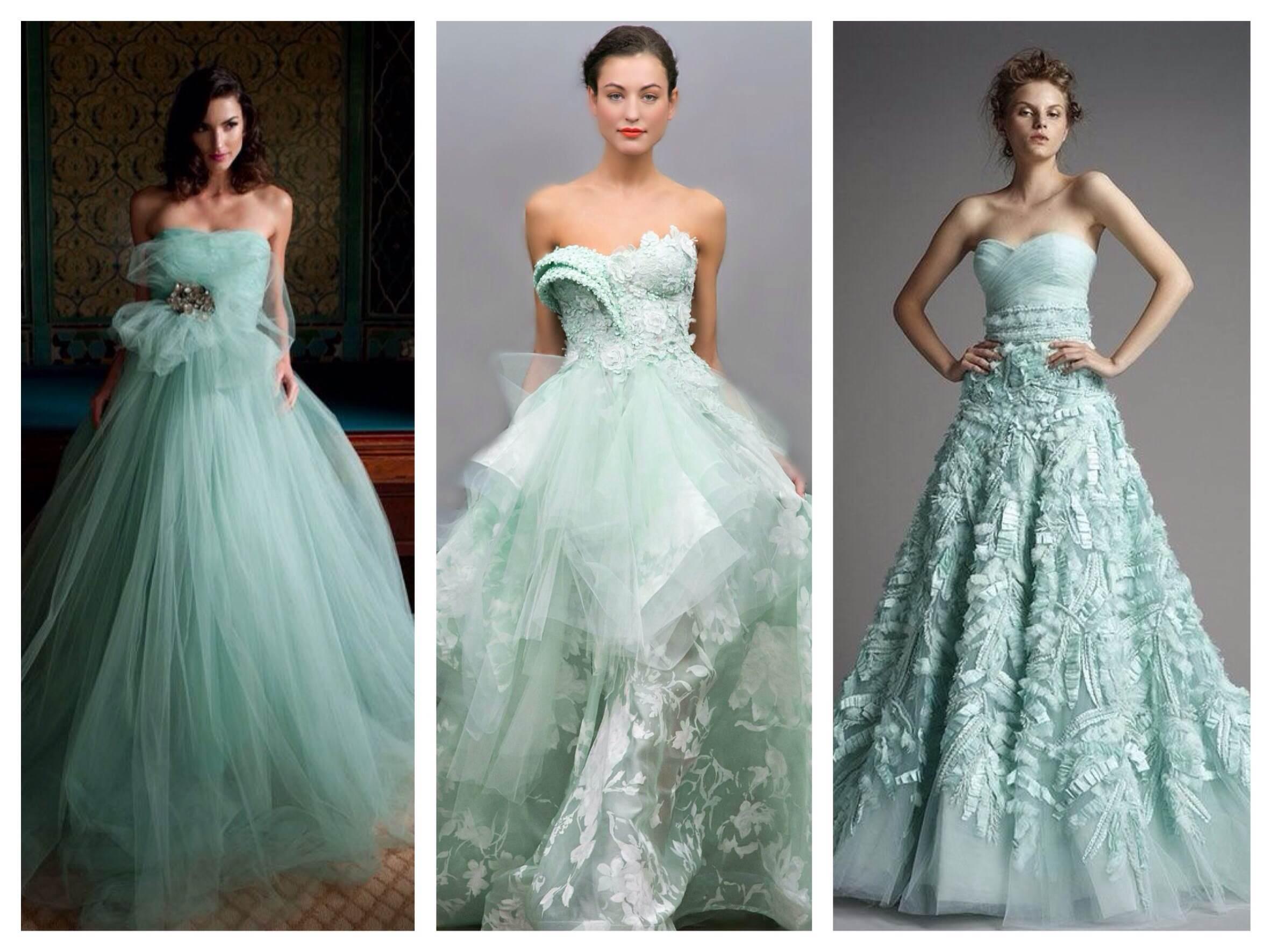 Свадебное платье белое с мятным