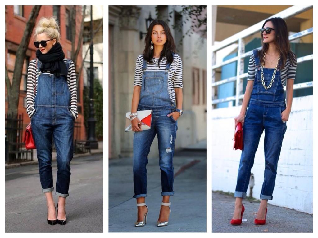Тельняшки в образах с джинсовым комбинезоном