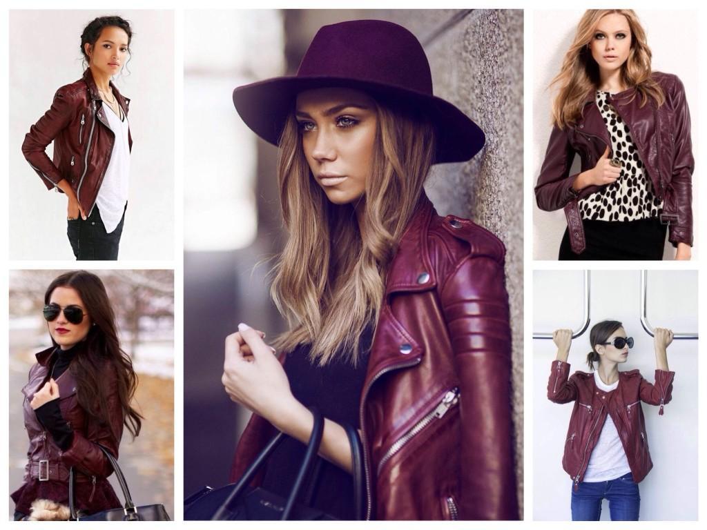 Бардовые оттенки кожаных курток