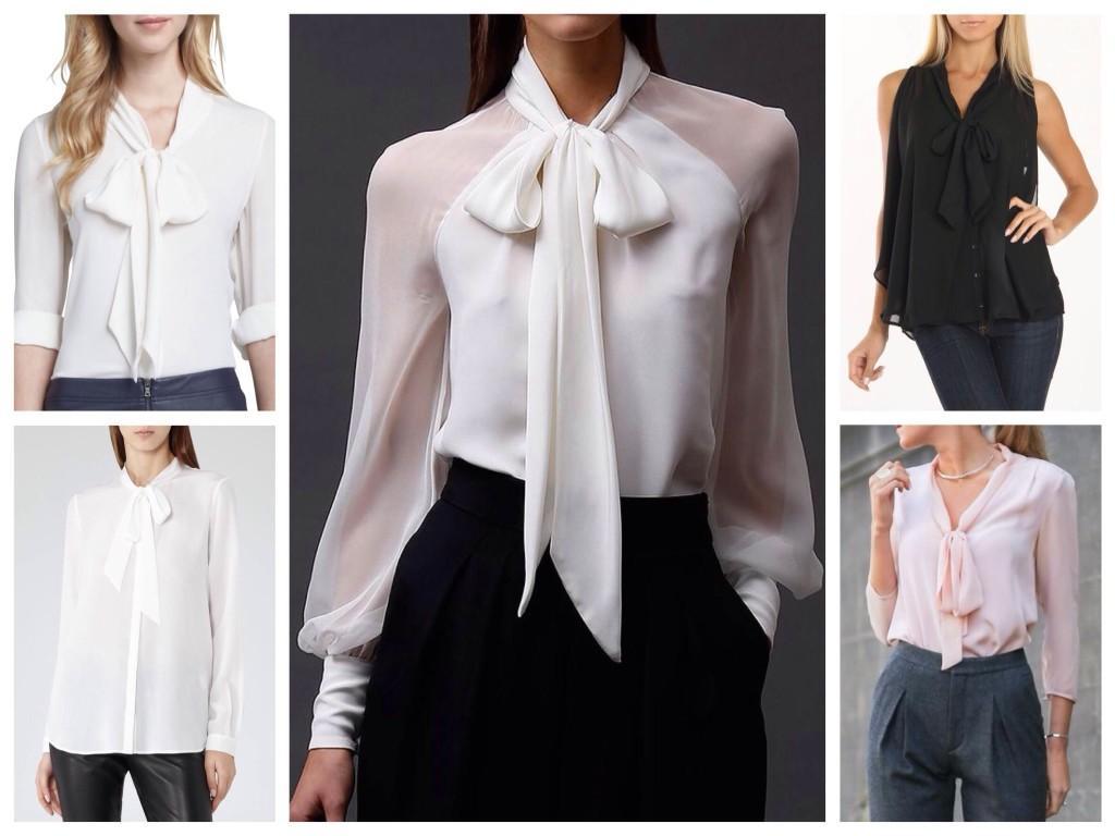 Блуза с бантом вариант базовой одежды