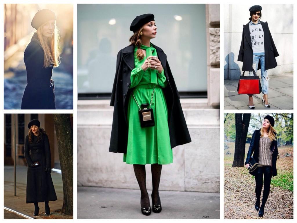 Черные модели беретов с пальто