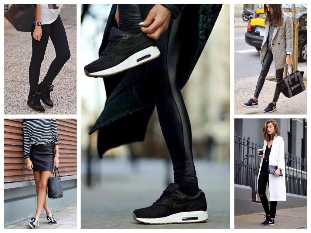 Черные модели кроссовок с черной одеждой