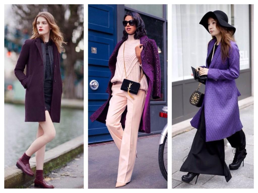Фиолетовые пальто в уличных луках