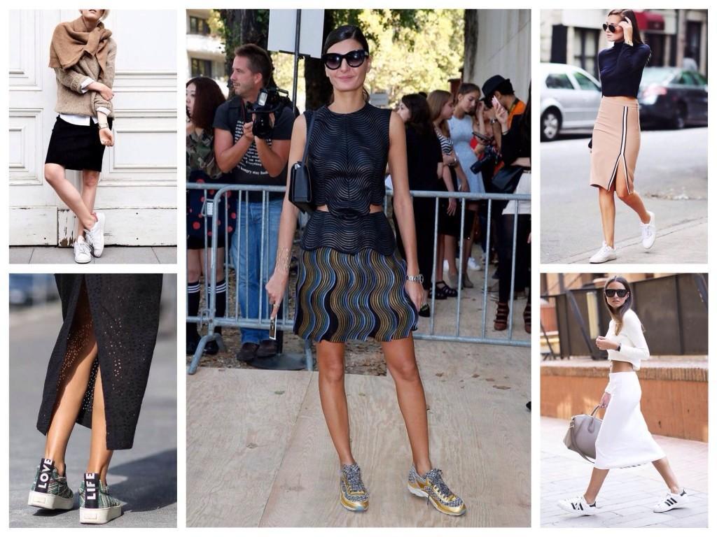 Кроссовки в ансамблях с юбками