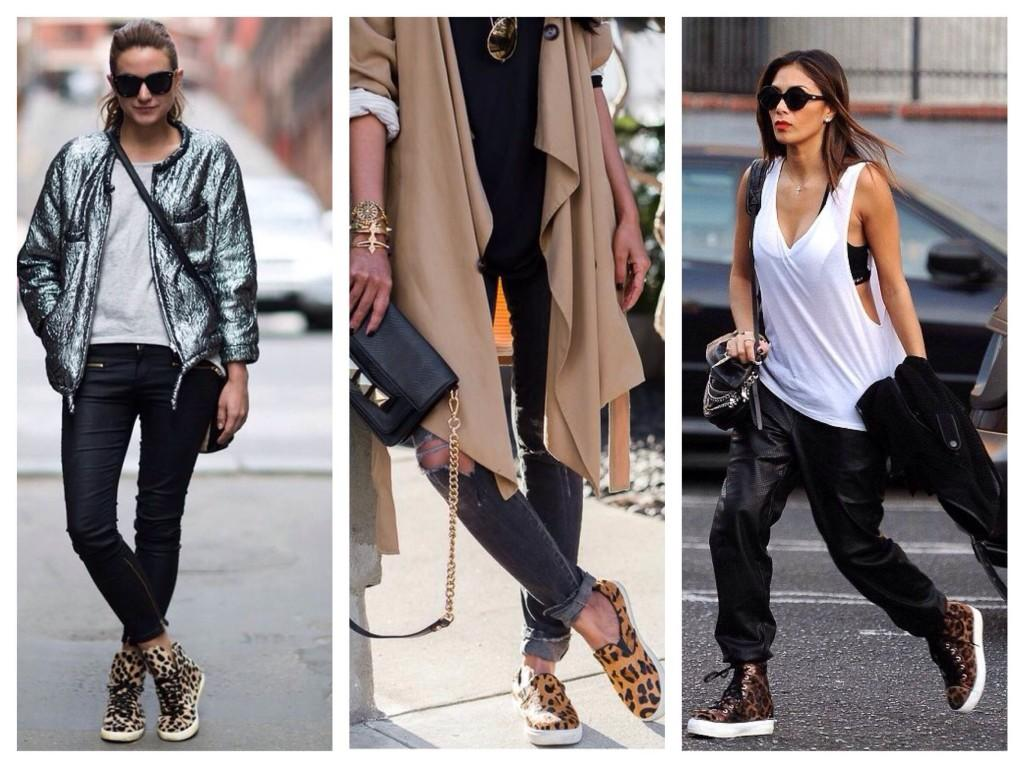 Леопардовый принт в спортивной обуви