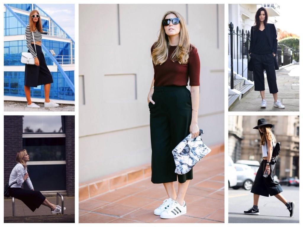 Модели известных производителей кроссовок в образах с брюками-кюлотами