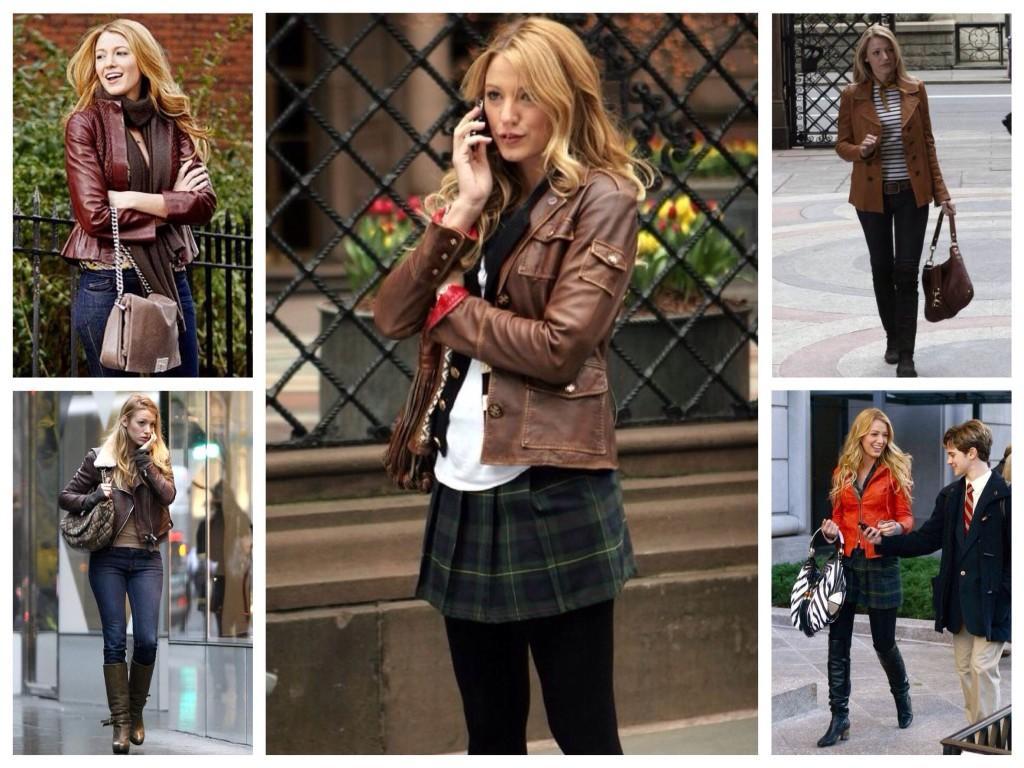 Модели кожанных курток в образах Серены из сериала Сплетница