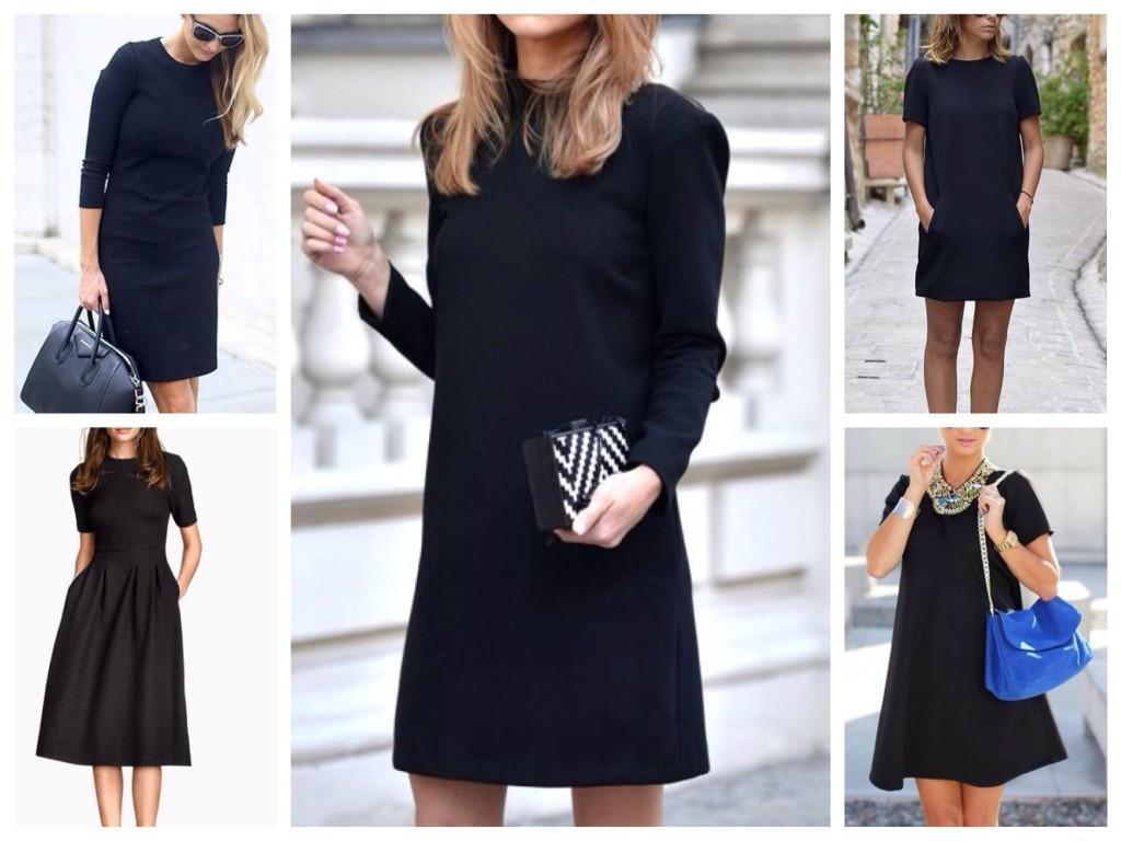 Силуэты черного платья для различных фигур