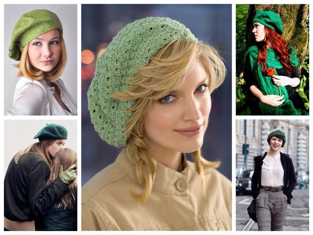 Зеленые оттенки женских беретов