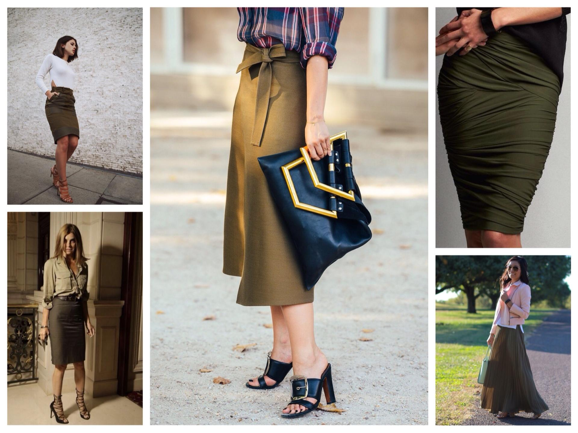 Что одеть с юбка цвета хаки