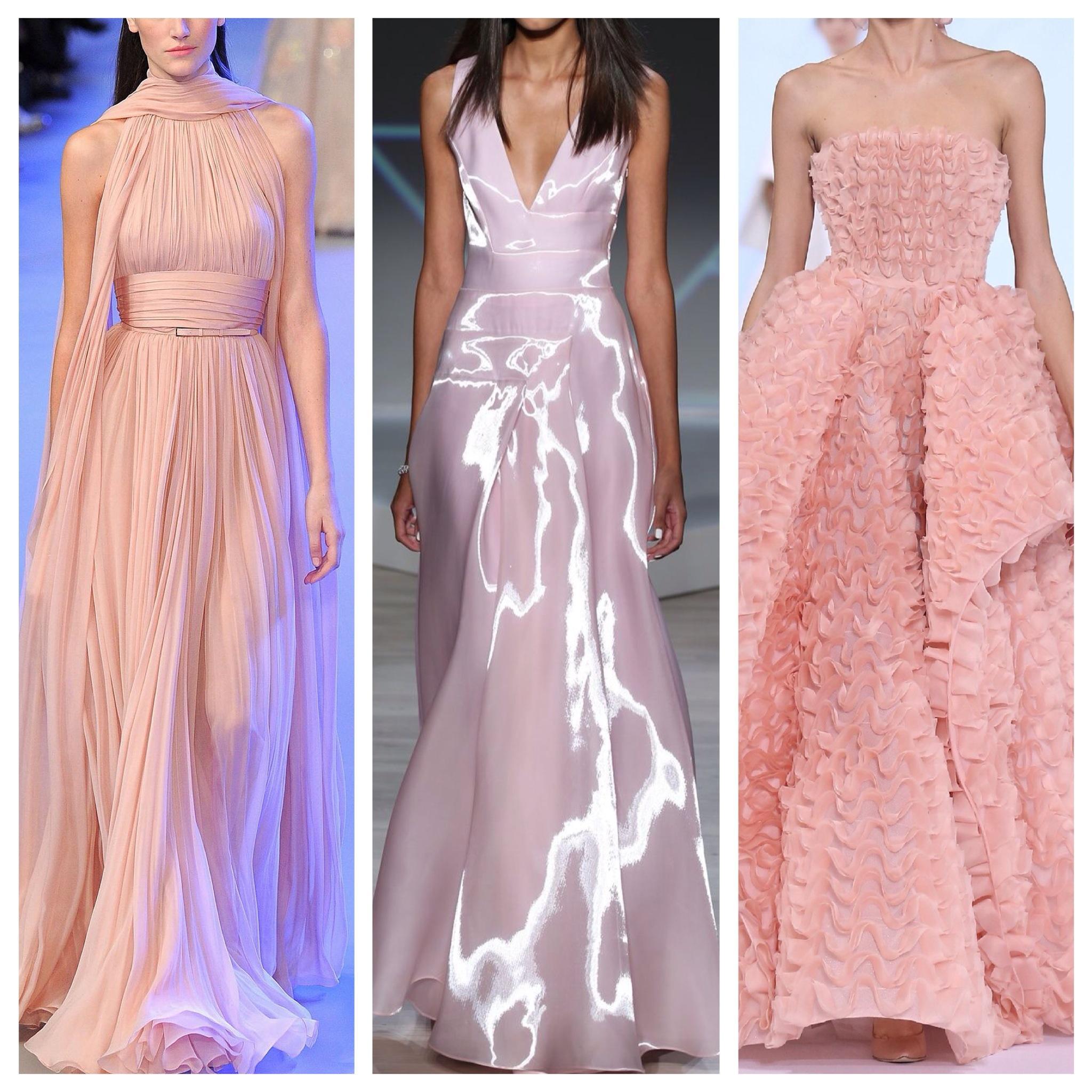 Розовые платья на подиуме
