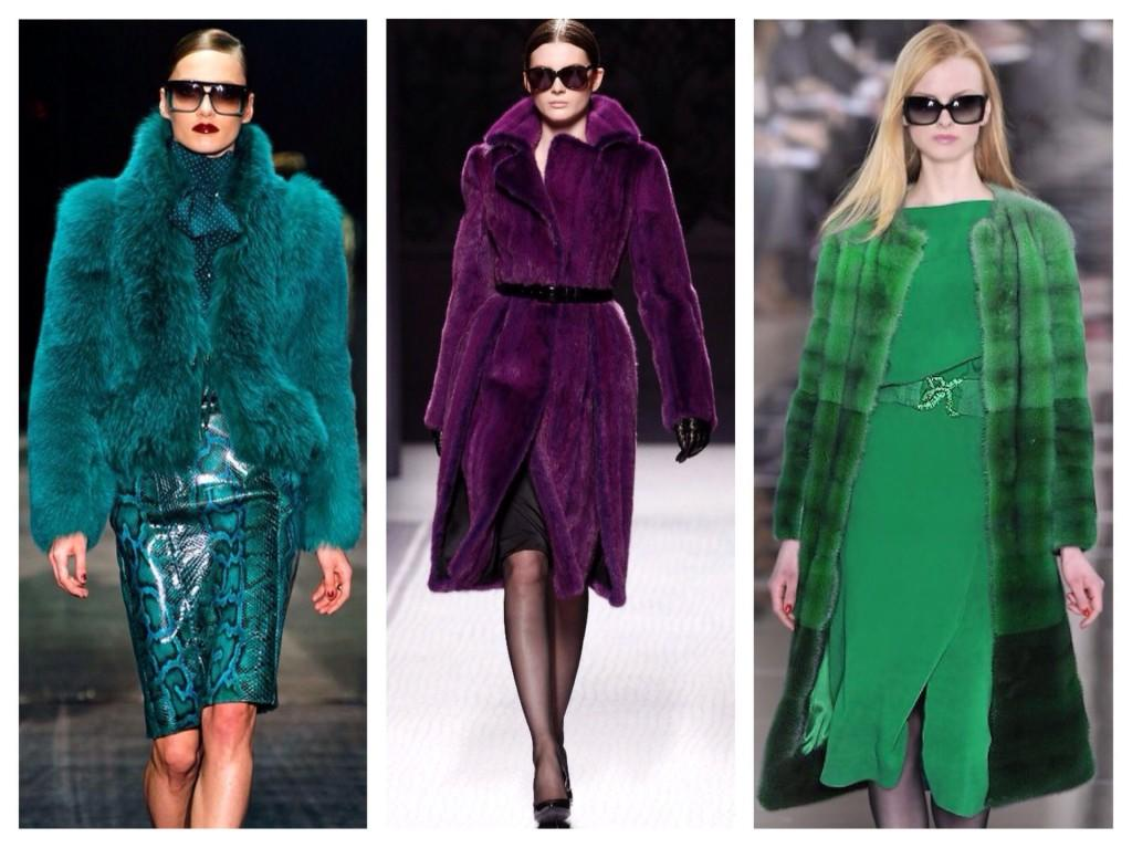 цветные пальто из меха