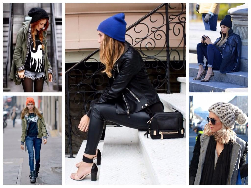 шапка бини с курткой