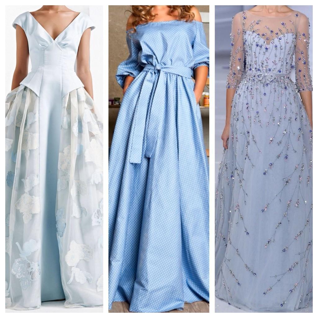 голубые длинные платья