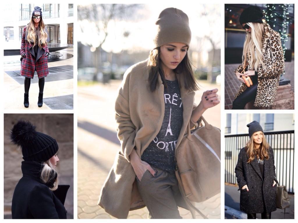 шапка бинни с пальто