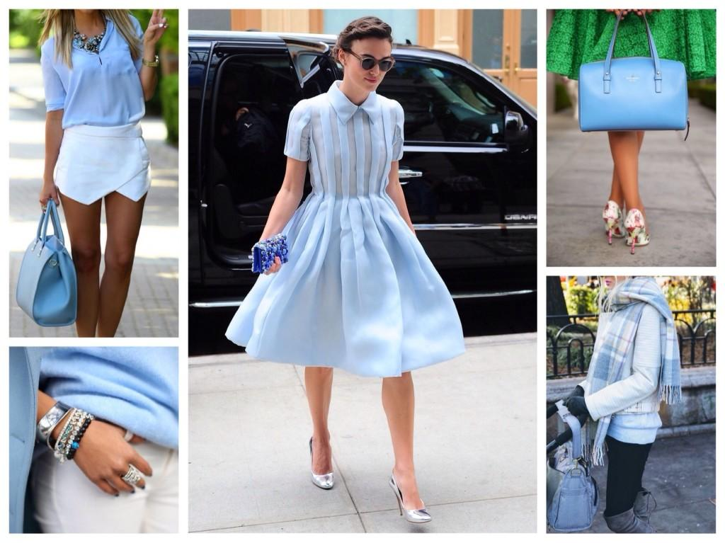 голубые сумки и аксессуары