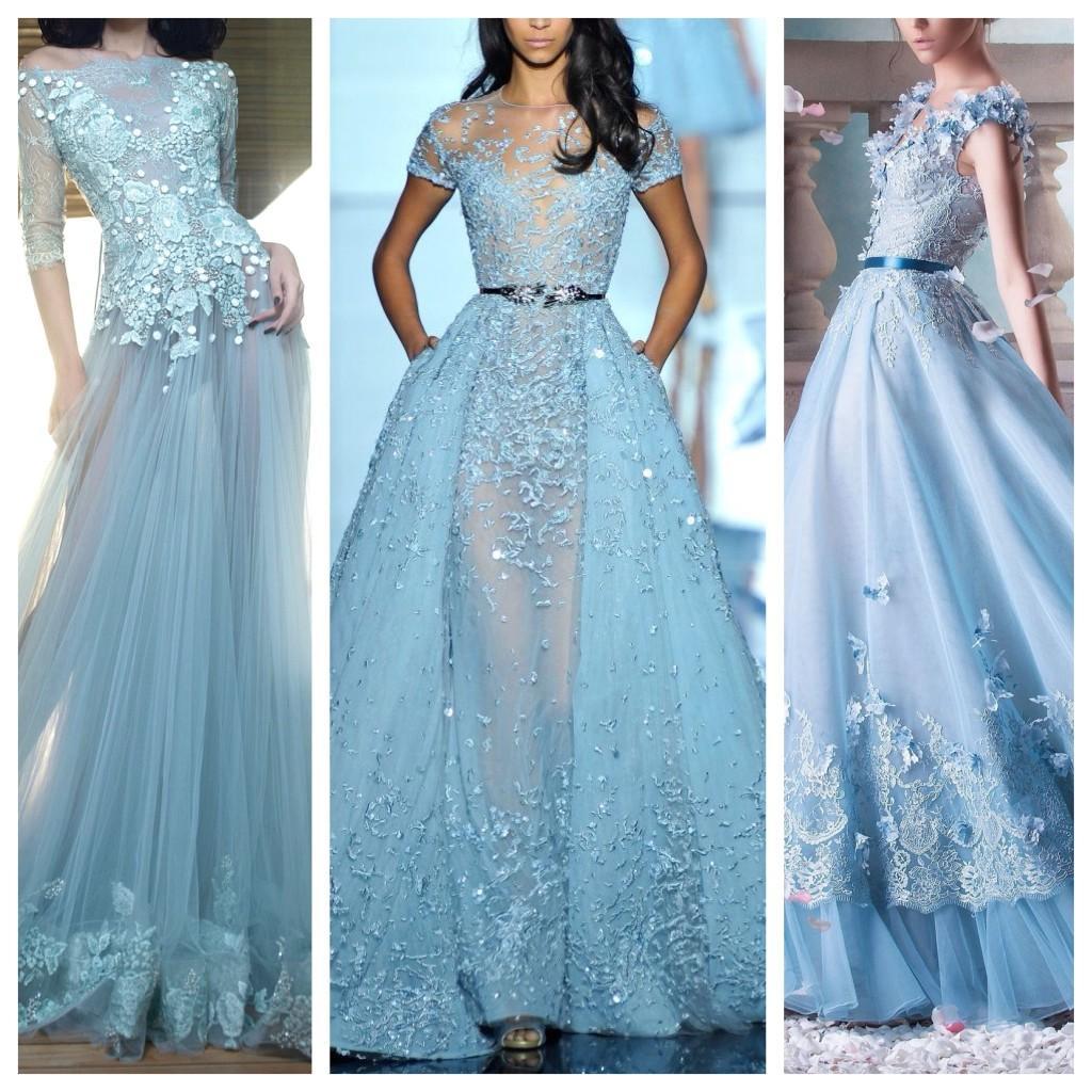 вечерние платья голубого оттенка